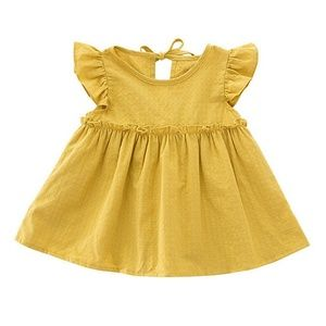New Boutique Mustard Yellow Flutter Sleeve Dress